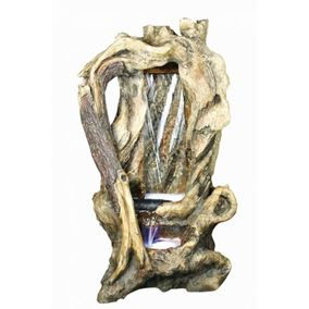 Hollow Tree Trunk Waterfall Water Feature with LEDs