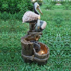 Pelicans with Water-Wheel Water Feature