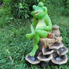 Fishing Frog Water Feature with LEDs