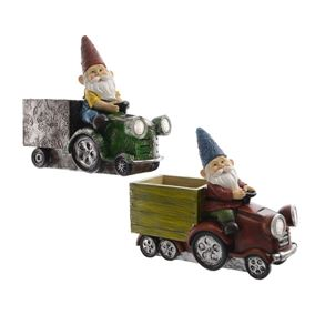 LED Solar Powered Gnome on Tractor Garden Planter