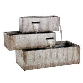 Zinc 3 Tier Rectangular Trough Blade Style Water Feature