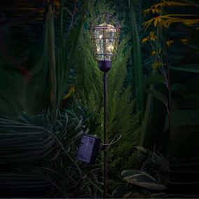 Solar Powered Rustic Bulb Stake Garden Light