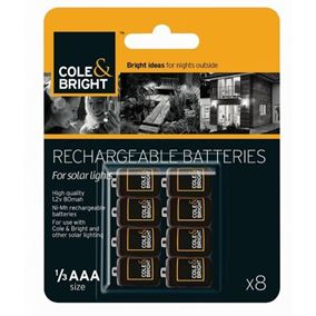 1/3 AAA Rechargable Batteries (8 Pack) for Solar Lights
