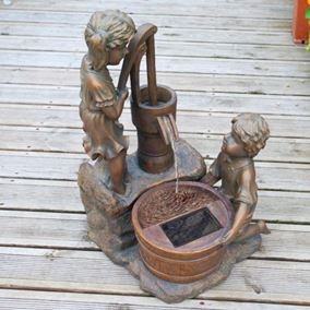Boy and Girl at Water Pump Solar Water Feature