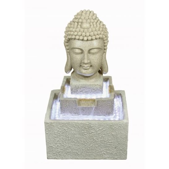 Sandstone Buddha Head Water Feature with LED Lights