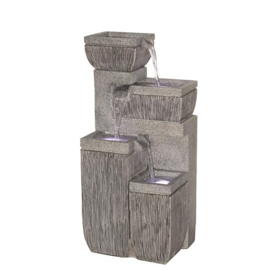 4 Bowl Textured Granite Water Feature with LED Lights