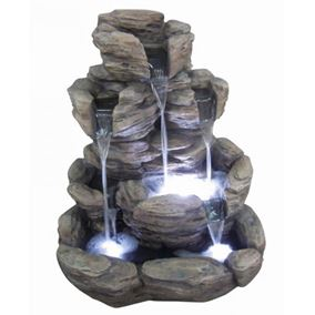 5 Fall Rock Formation Lit Water Feature