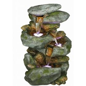 3 Fall Boulder Formation Water Feature with 3 Single LED Lights