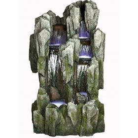 Large Slate Fall Water Feature with 5 Cluster LED Lights