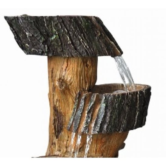 additional image for Three Fall Tree Trunk Solar Powered Water Feature