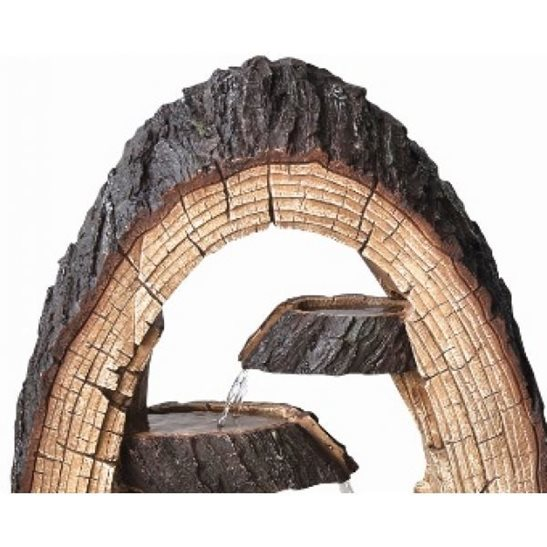 additional image for 4 Fall Open Tree Trunk Water Feature with LED Lights