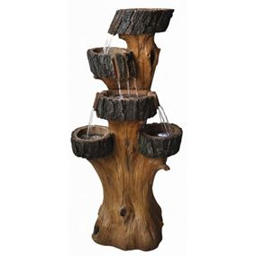 4 Fall Tree Trunk Water Feature with LED Lights