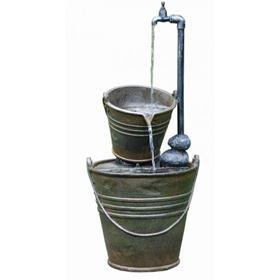 2 Tin Buckets with Tap Water Feature with LED Lights