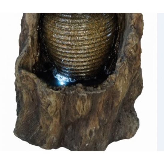 additional image for 3 Ribbed Pots on Tree Trunk Water Feature with LED Lights