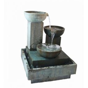 Trio Cascade Glass Reinforced Concrete Fountain Water Feature