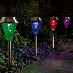 Colour Changing Stainless Steel Solar Post Lights with Remote Control (4 Pack)