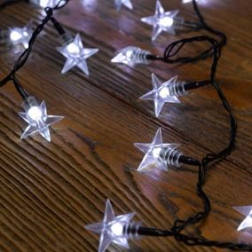 100 White LED Star Battery String Lights