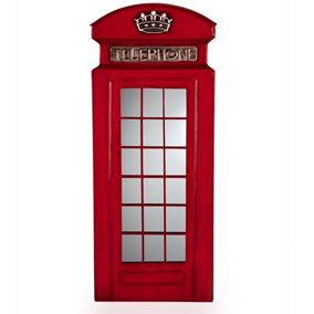 Red Telephone Box Outdoor Garden Wall Art