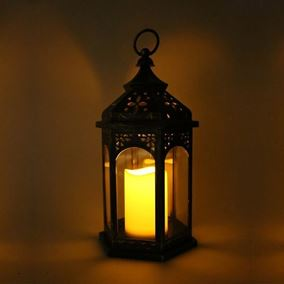 Extra Large Antique Gold Lantern with Flickering Candle
