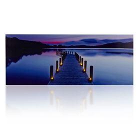 Lake Scene LED Lit Wall Canvas (40cm x 100cm)