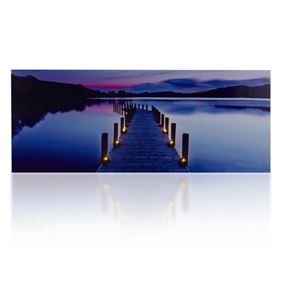 Lake Scene LED Lit Wall Canvas (40cm x 100cm)