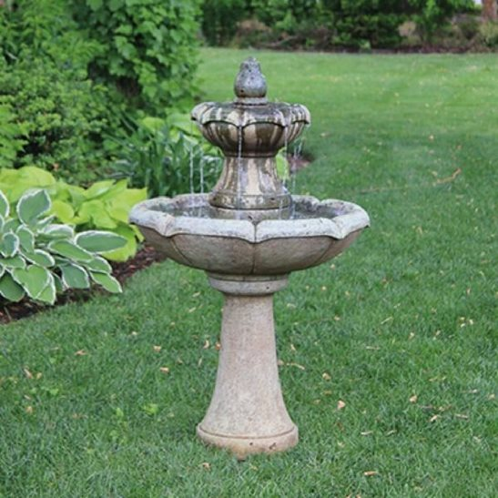 Medium Two Tier Charlotte Fountain Cast Stone Water Feature