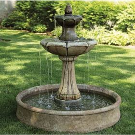 Medium Two Tier Charlotte Fountain on Pool Cast Stone Water Feature