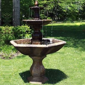 3 Tier Boca Hexagon Fountain Cast Stone Water Feature (Revel Brown)