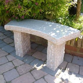 Rustic Curved Pink Granite Stone Garden Bench 100cm
