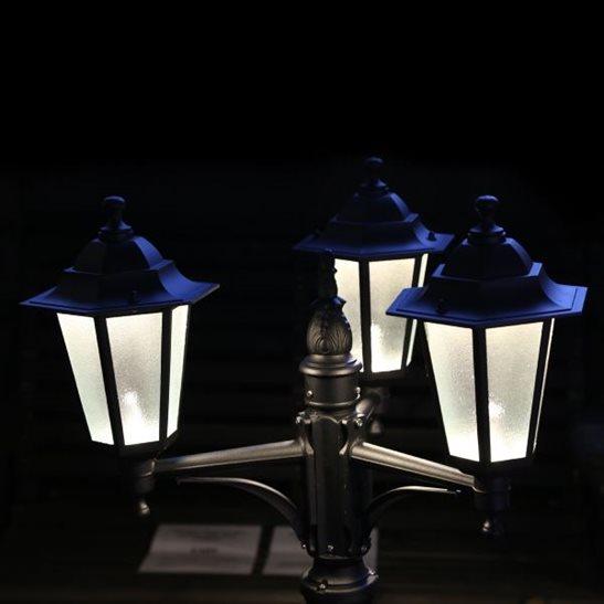 12V LED 214cm Black Triple Garden Lampost Low Voltage Lighting System