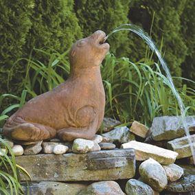Resting Seal Cast Stone Garden Pond Spitter