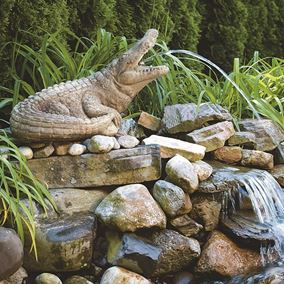Alligator With Mouth Open Cast Stone Pond Spitter
