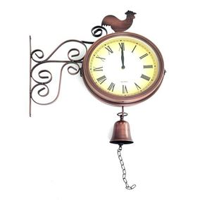 Bronze Bliss Metal Wall Clock with Bell