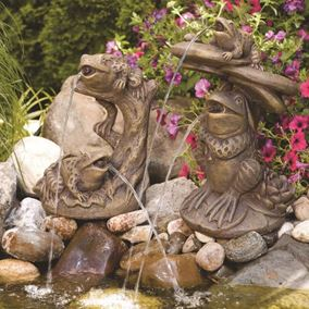 Frogs On Lily Pads Cast Stone Garden Pond Spitter