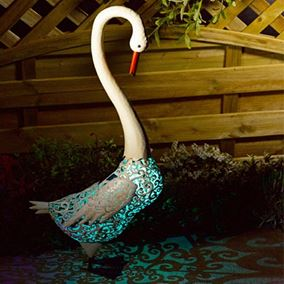Metal Silhouette Swan Solar Garden Light