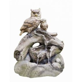 2 Owls on Branch Water Feature (Battery Powered)
