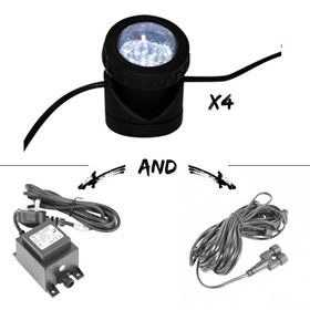 Set of 4 White Extendable Adjustable Spotlight (12 LED) Kit