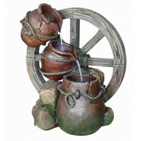 Pouring Urns Cartwheel Water Feature (Solar Powered)