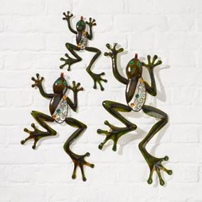 Climbing Frogs Metal Garden Wall Art (3 Pack)