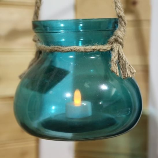 Large Colourful Glass Candle Holder With Rope And Battery