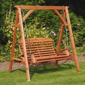Apex Wooden Garden Swing Seat Beech Finish