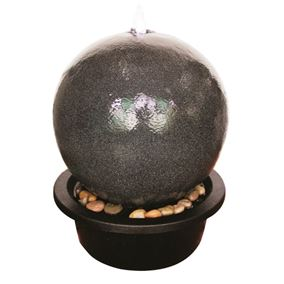 Black Sphere Lit Water Feature with LED Lights