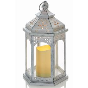 Brushed White Antique Candle Lantern (Battery Operated)