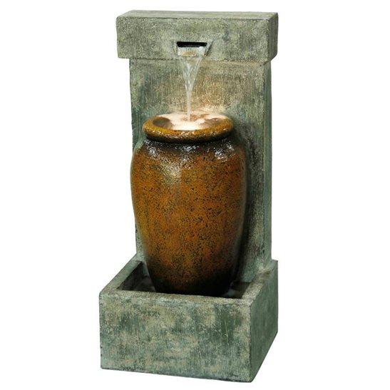 Cascading Urn Modern Lit Water Feature