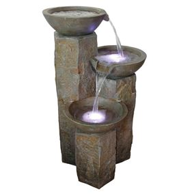 Causeway Stone Pouring Bowls Lit Water Feature