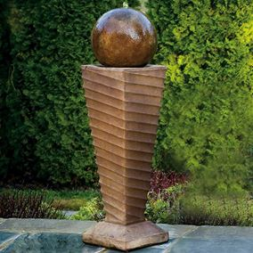 Contemporary Swirl Fountain Cast Stone Water Feature (Everglade Stone)