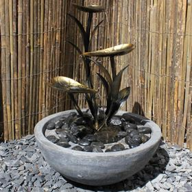 Copper Effect Leaf Water Feature with Resin Base & LED's