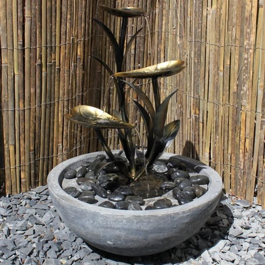 Copper Effect Leaf Water Feature With Resin Base Solar