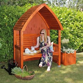 Cottage Beech Wooden Garden Arbour with Luxury Seat Cushion