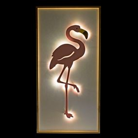 LED Lit Metal Indoor Flamingo Wall Art Battery Powered